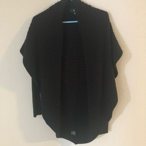 Black open front cardigan